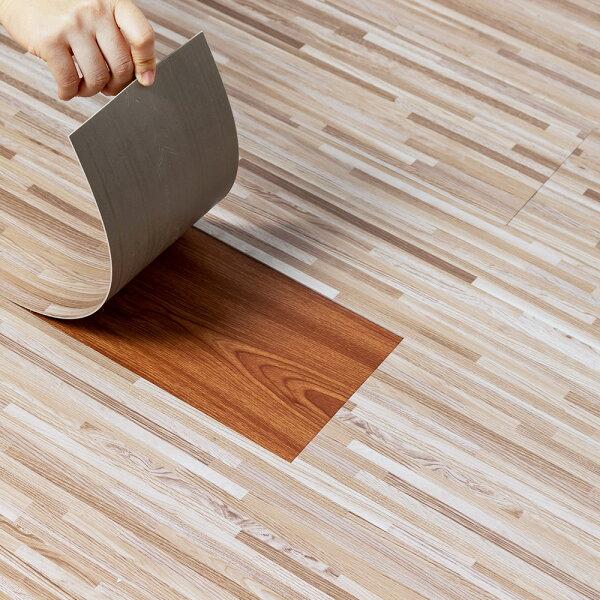 自黏式地板貼木紋地貼PVC地板貼紙-12片阻燃防水耐磨地貼約0.5坪