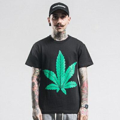 短袖T恤休閒上衣-大V大麻葉印花圓領男裝73qx29【獨家進口】【米蘭精品】