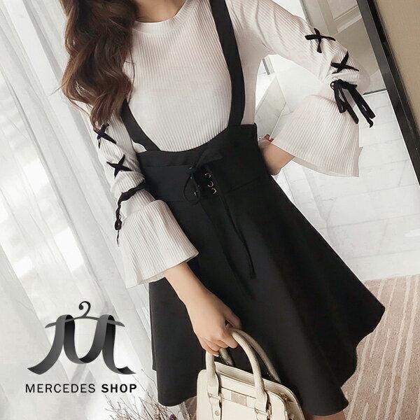 《全店75折》春裝時尚修身顯瘦學院風背帶裙兩件套連身裙長袖洋裝(S-2XL)-梅西蒂絲(現貨+預購)
