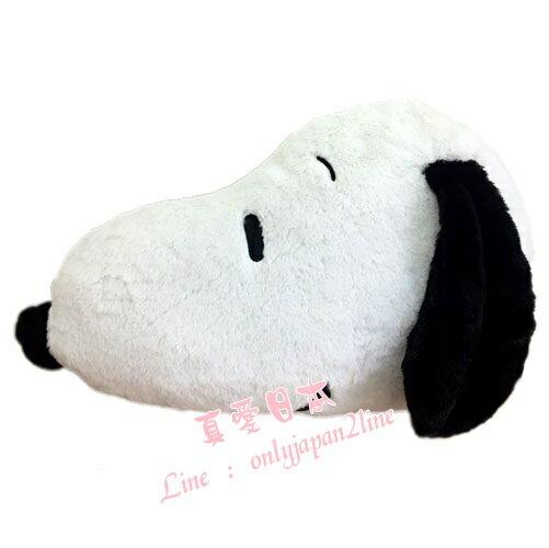 【真愛日本】16090300007頭型絨毛抱枕50CM-SN白   史努比 SNOOPY  絨毛 抱枕 靠枕 售完不補