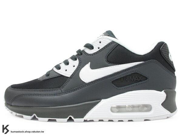 KUMASTOCK:2018NSW經典復刻鞋款人氣商品NIKEAIRMAX90ESSENTIAL碳灰白皮革網布慢跑鞋(537384-089)0218