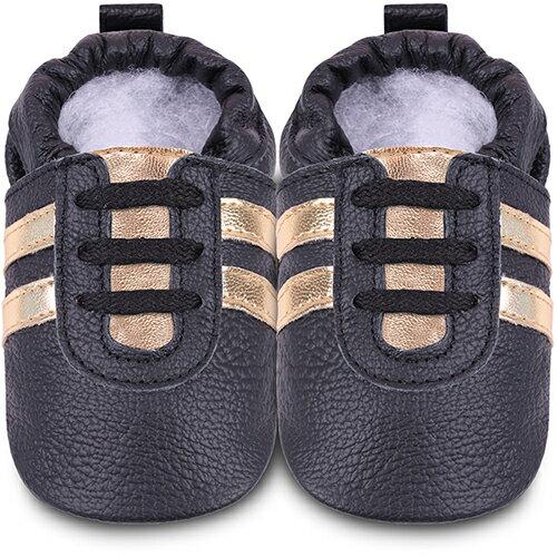 【HELLA 媽咪寶貝】英國 shooshoos 安全無毒真皮手工鞋/學步鞋/嬰兒鞋_黑色金鞋帶運動型_102066 (公司貨)