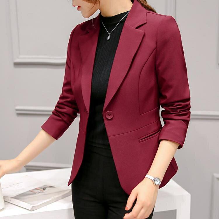 免運 西裝外套 2020春裝新款chic職業百搭西服長袖韓版修身顯瘦小西裝外套女短款
