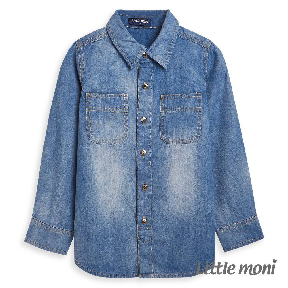 Little moni 牛仔水洗襯衫-牛仔藍 1
