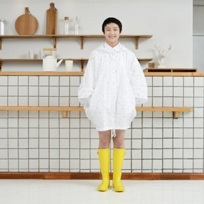 tiohoh 格子幾何系列蝙蝠衫風雨衣(白色)-8603