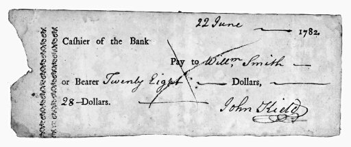 Bank Check 1782 Ncheck On The Bank Of North America 22 June 1782 One Of The First Known Checks Rolled Canvas Art - (24 x 36)