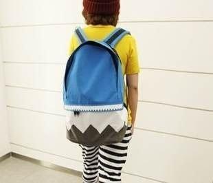 =優生活=2015 新款個性風 波浪形 菱格紋休閒包 帆布包 學生包 旅行包 後背包