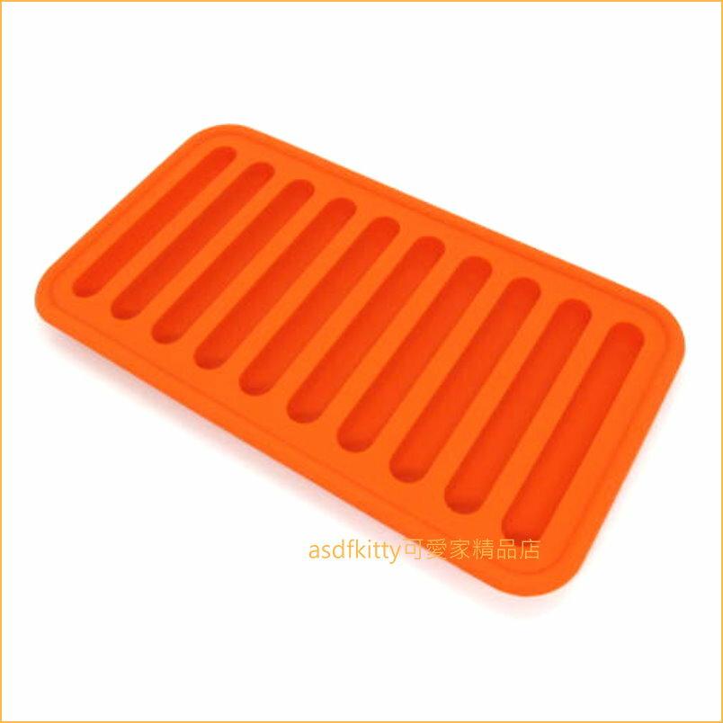 asdfkitty可愛家~ 川嶋 橘色細長條製冰盒  矽膠模型~做冰塊.巧克力.果凍.布丁