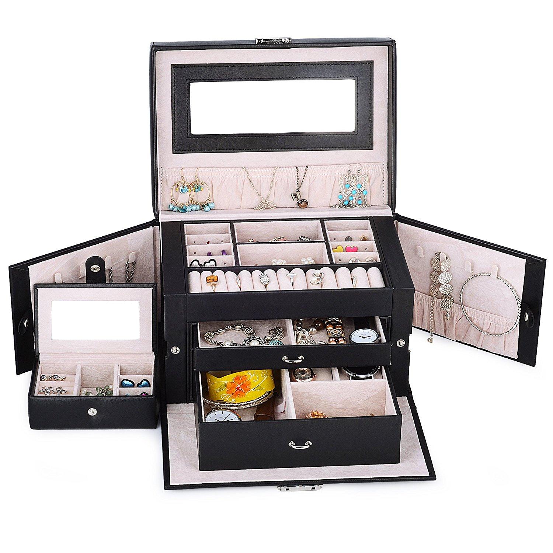 Kendal Black Leather Jewelry Box Case Storage Organizer With Travel Case And Lock Ljc02sbk