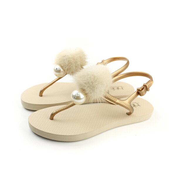 夾腳涼鞋 毛球 米色 女鞋 no126