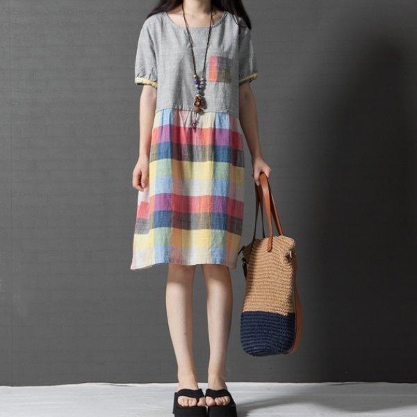 *漂亮小媽咪*夏季微風格紋短袖棉麻洋裝拼接格子孕婦裝孕婦洋裝D2519