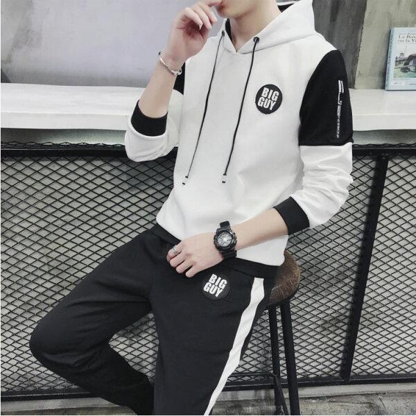 經典潮流韓式風格拼接連帽造型休閒運動套裝