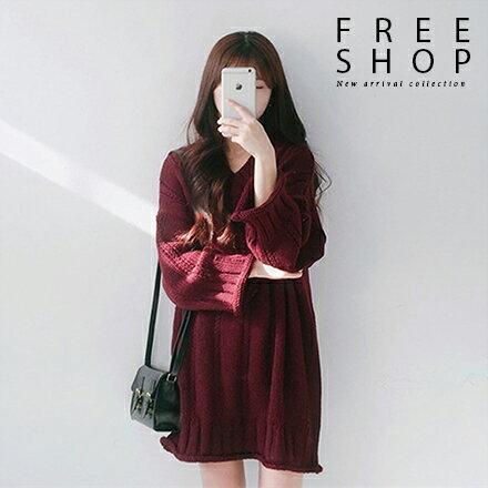 Free Shop:FreeShop女款韓版氣質素色造型滾邊寬鬆V領針織上衣長版針織衫針織連身裙【QMDM9017】