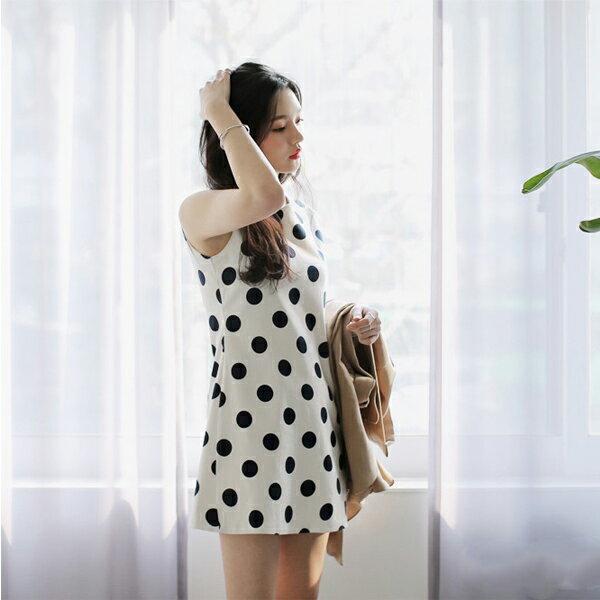 PS Mall  大圓波點無袖背心圓領收腰打底連衣裙 連身洋裝~T1093~ ~  好康折