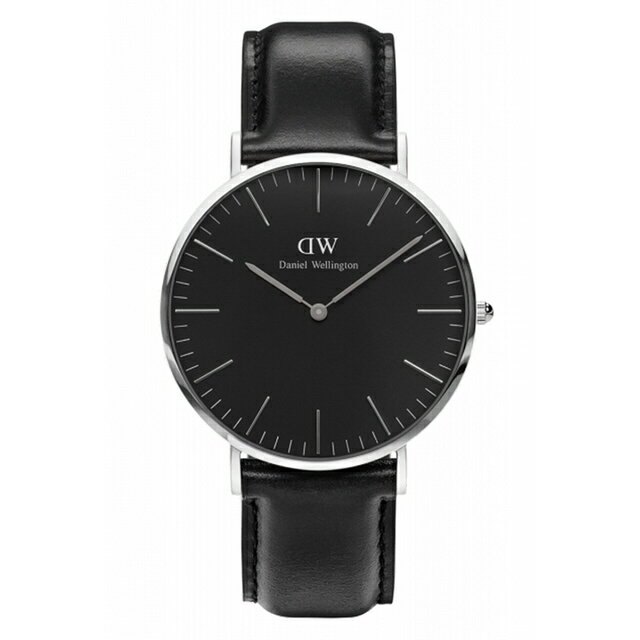 【 貨】Daniel Wellington DW 瑞典簡約風格 40mm   黑色  銀框