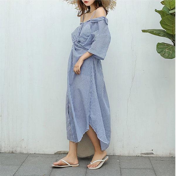 露肩一字領扭結細肩帶直條紋棉麻襯衫長洋裝連身裙洋裝顯瘦遮陽韓國上班族ANNAS.