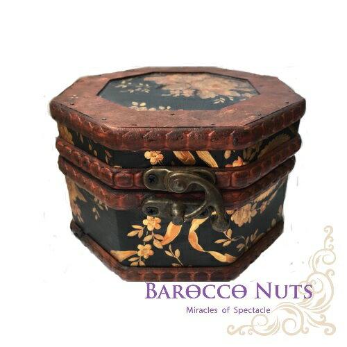 ~Barocco Nuts~^~藏寶箱^~ 5吋八角盒~復古深黑底花團錦簇藏寶盒^(仿古