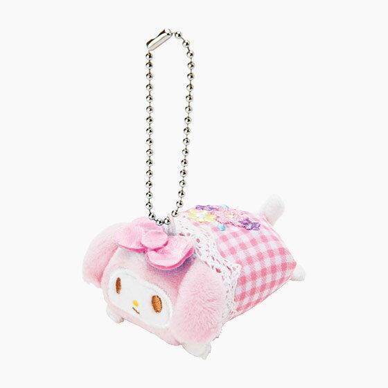 【真愛日本】4901610677469 珠鍊可擦拭玩偶吊飾-MM+ABA 三麗鷗 Melody 美樂蒂 鑰匙圈 鎖圈 吊飾