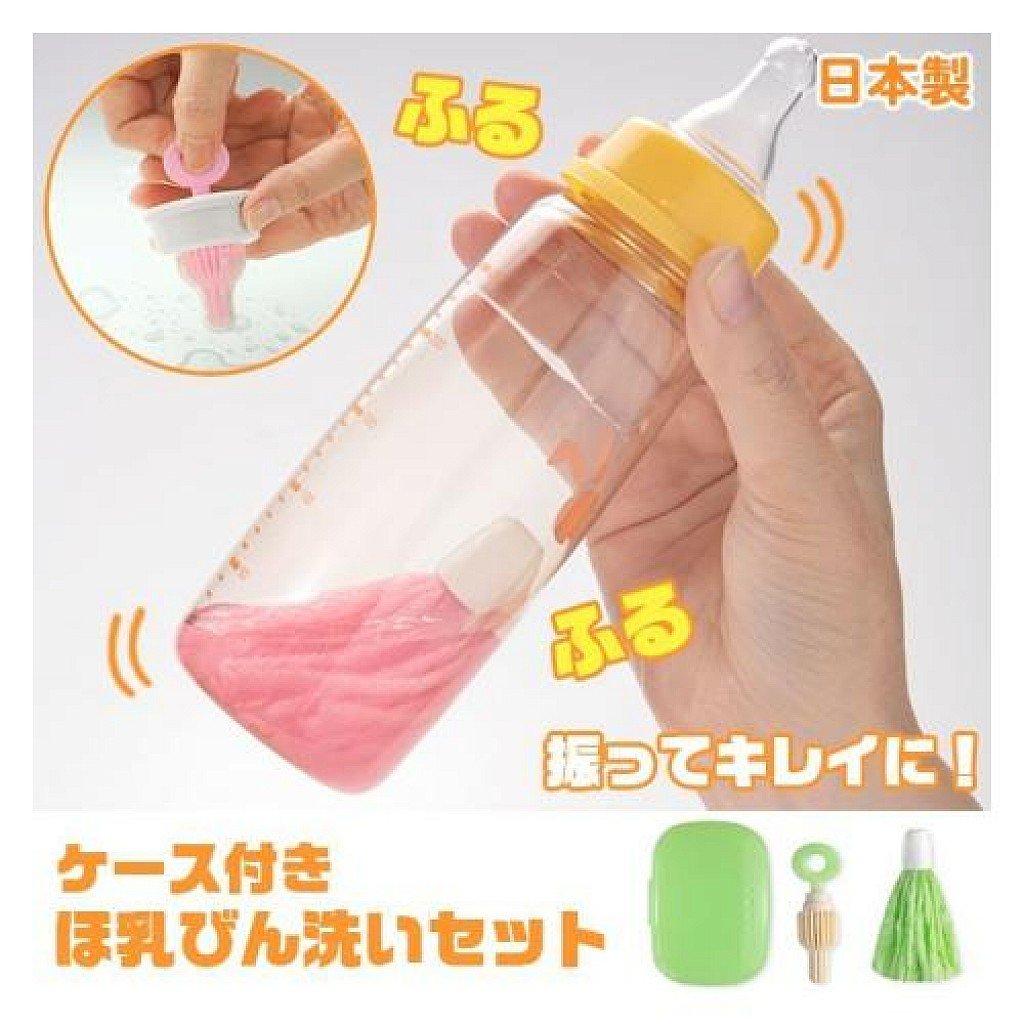 日本SANKO攜帶式魔法奶瓶刷組(粉色 / 綠色)嬰幼兒奶瓶奶嘴清潔刷 5