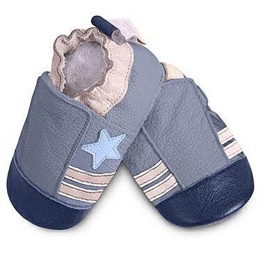 【hella 媽咪寶貝】英國 shooshoos 安全無毒真皮手工鞋/學步鞋/嬰兒鞋 藍色小星星(公司貨)