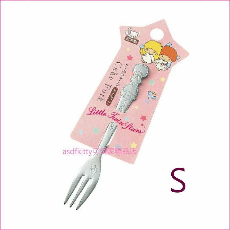 asdfkitty可愛家☆雙子星造型握把不鏽鋼叉子-S/水果叉/點心叉/蛋糕叉-日本製