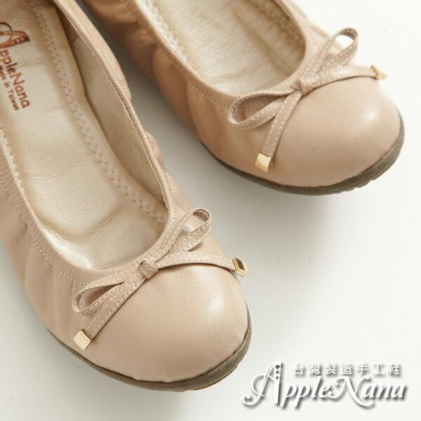 AppleNana。寬肉腳救星。OL上班鞋。經典芭蕾娃娃楔型鞋【Q15501380】蘋果奈奈 0