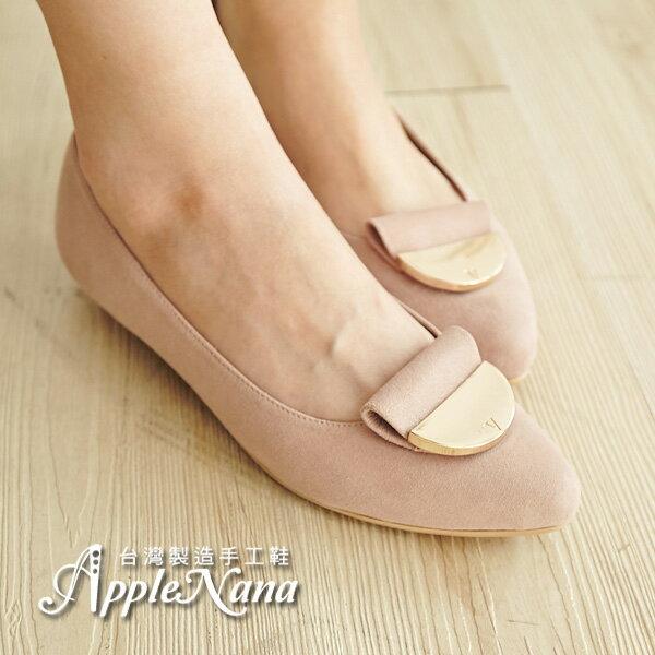AppleNana。寬肉腳超推。韓系半月金牌羊皮軟Q墊尖頭平底鞋【QC101051380】蘋果奈奈 1