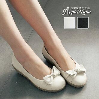 AppleNana。舒服的甜。清新蝴蝶結真皮波浪楔型氣墊娃娃鞋。特推!【QTI0711380】蘋果奈奈