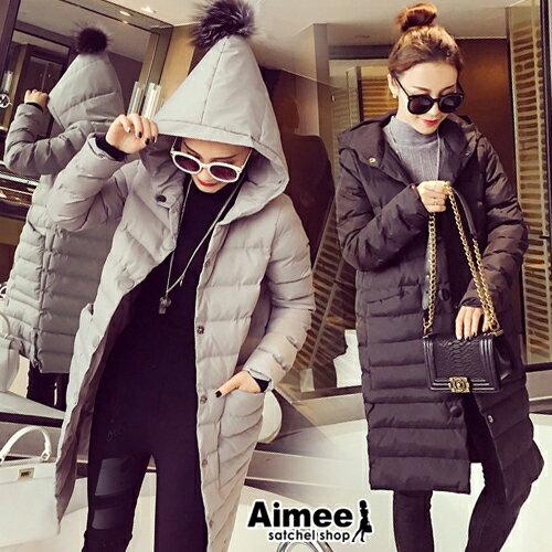 ~ ~~Aimee~ 可愛‧精靈毛球帽帽大大口袋羽絨外套大衣~大 ~‧歐風防風衣黑灰綠咖高