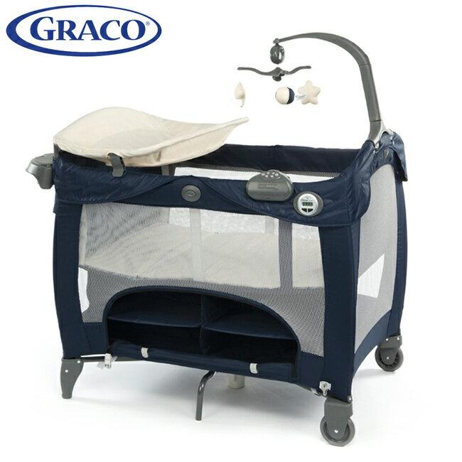 ※GRACO 舒適嬰幼兒電動安撫遊戲床 Contour Prestige-時?藍