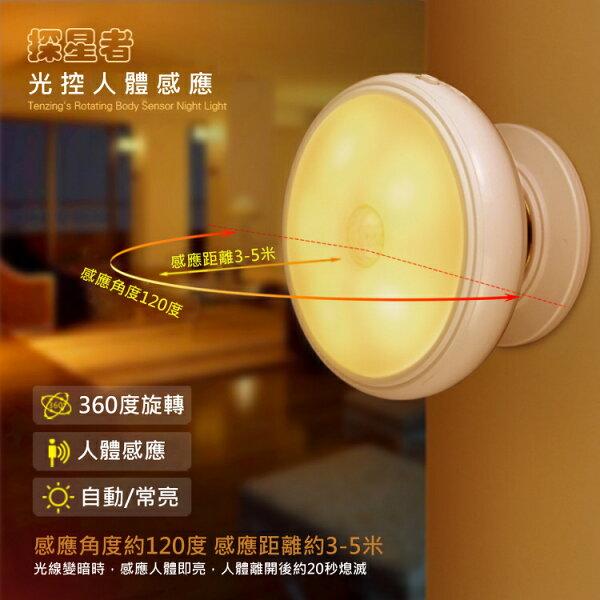 探星者360度旋轉人體感應小夜燈LED燈人體感應燈LED紅外線感應樓梯燈照明燈探照燈