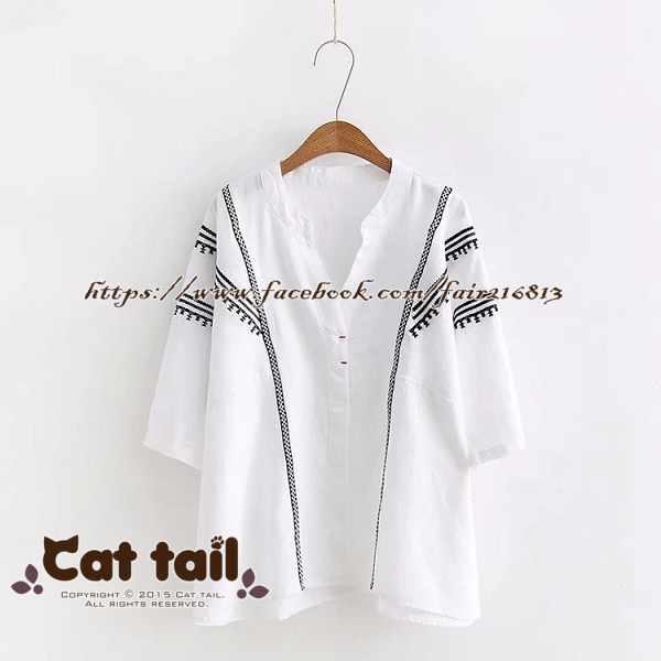 《貓尾巴》CH-01978日系繡花刺繡短袖T恤(森林系日系棉麻文青清新)