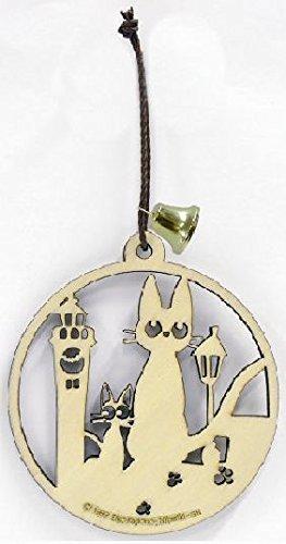 【真愛日本】15121500007 精緻雕刻圓形木牌-jiji時計台 魔女宅急便 黑貓 奇奇貓 吊飾 收藏 擺飾