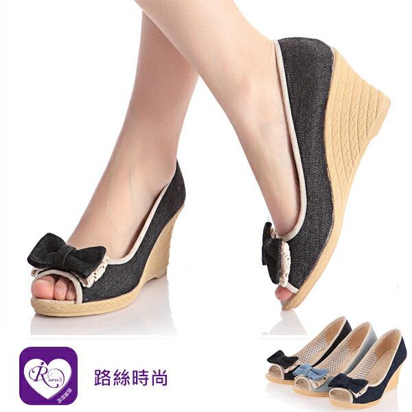 【快速出貨】韓系甜美布面魚口高跟楔型涼鞋/3色/35-39碼(RX0322-1322) iRurus 路絲時尚