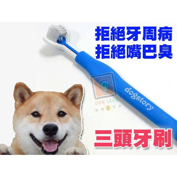 ORG《PT0020》拒絕牙周病~三頭設計 無死角 寵物牙刷 三頭牙刷 潔牙牙刷 祛牙垢 牙結石 無死角牙刷 寵物用品