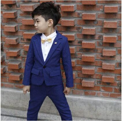 天使嫁衣:天使嫁衣【童C0123】藍色秋冬款男童西服加絨套裝˙預購訂製款