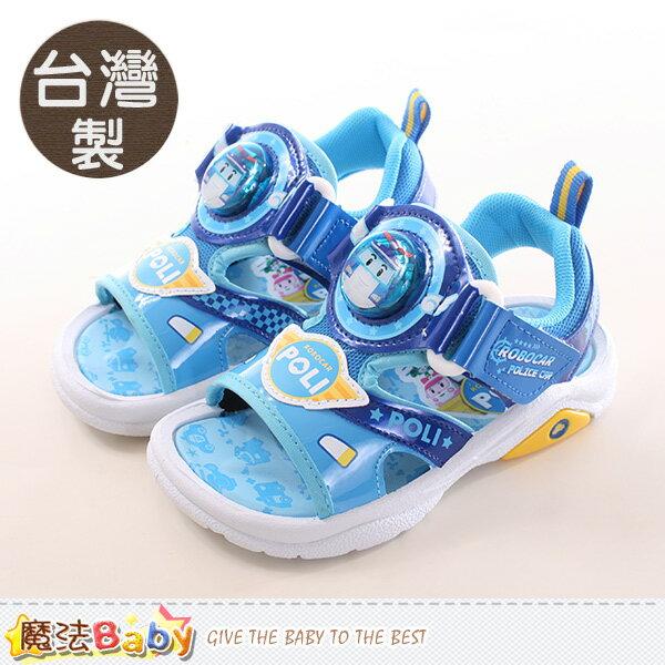 男童涼鞋 台灣製POLI正版閃燈運動涼鞋 魔法Baby~sa71106