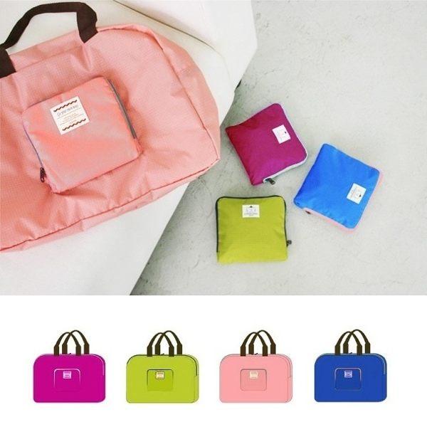韓版 可折疊超大容量旅行購物袋 行李外掛式收納袋 肩背包中包 收納包隨身登機包 【RB360】