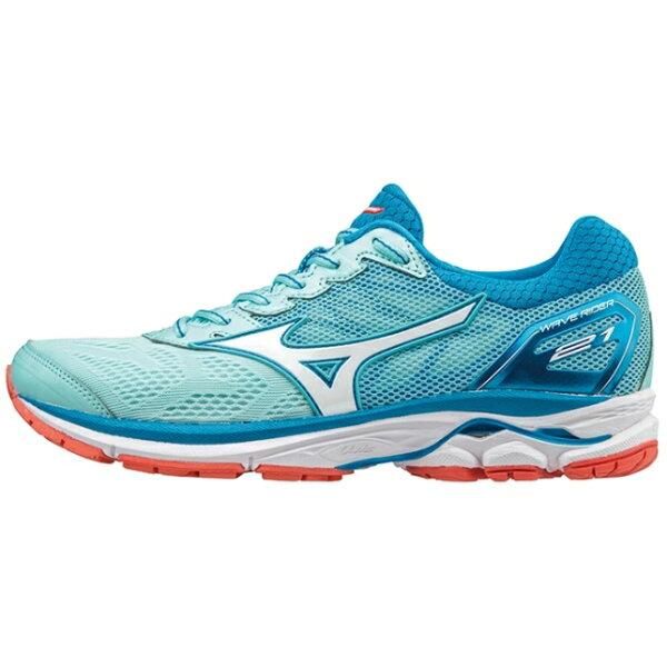 MIZUNOWAVERIDER女鞋慢跑網布緩衝避震輕量穩定舒適藍白【運動世界】J1GD180365