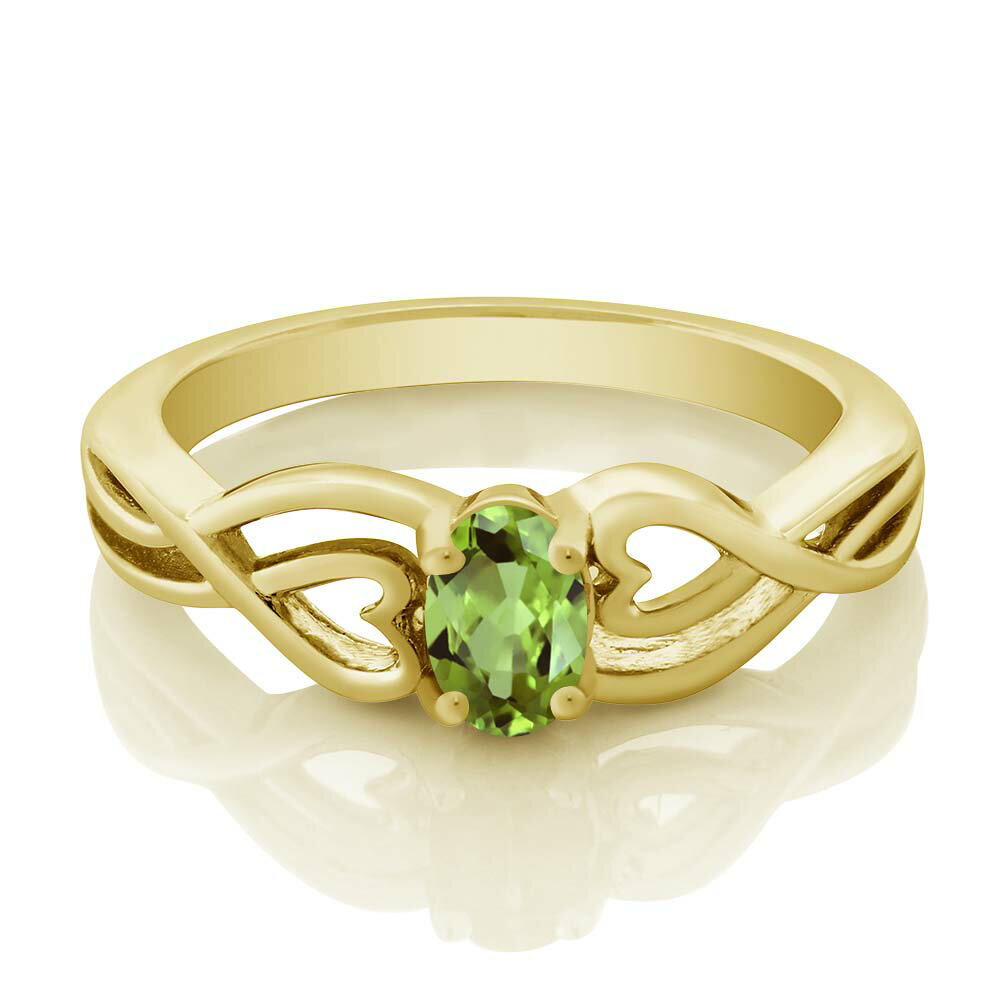 0.50 Ct Oval Green Peridot 18K Yellow Gold Plated Silver Ring 1