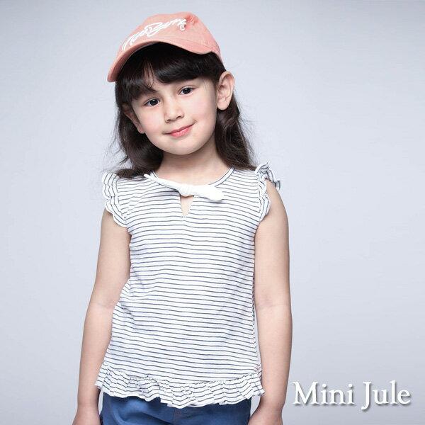 《MiniJule童裝》上衣綁結荷葉邊條紋短袖上衣(藍)