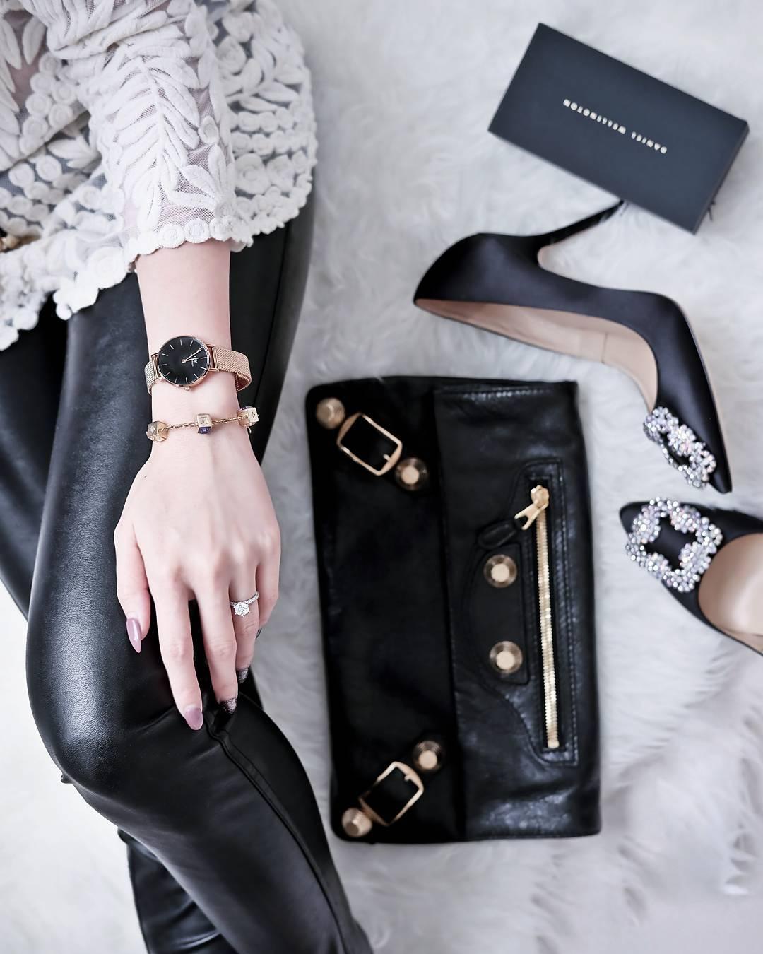 DW Daniel Wellington 丹尼爾惠靈頓 Classic Black Petite Melrose 米蘭風格時尚腕錶 DW00100161 玫瑰金 黑 32mm 4