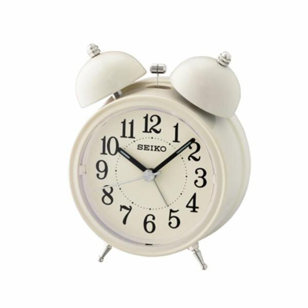 Seiko 精工鐘 (QHK035C) 貪睡功能響鈴式圓形鬧鐘(白)/11.1*8.4*5.2 cm