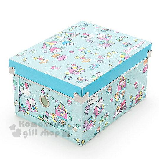 〔小禮堂〕Sanrio 大集合 塑膠折疊收納箱《S.藍.遊樂園》附蓋.可放A5尺寸