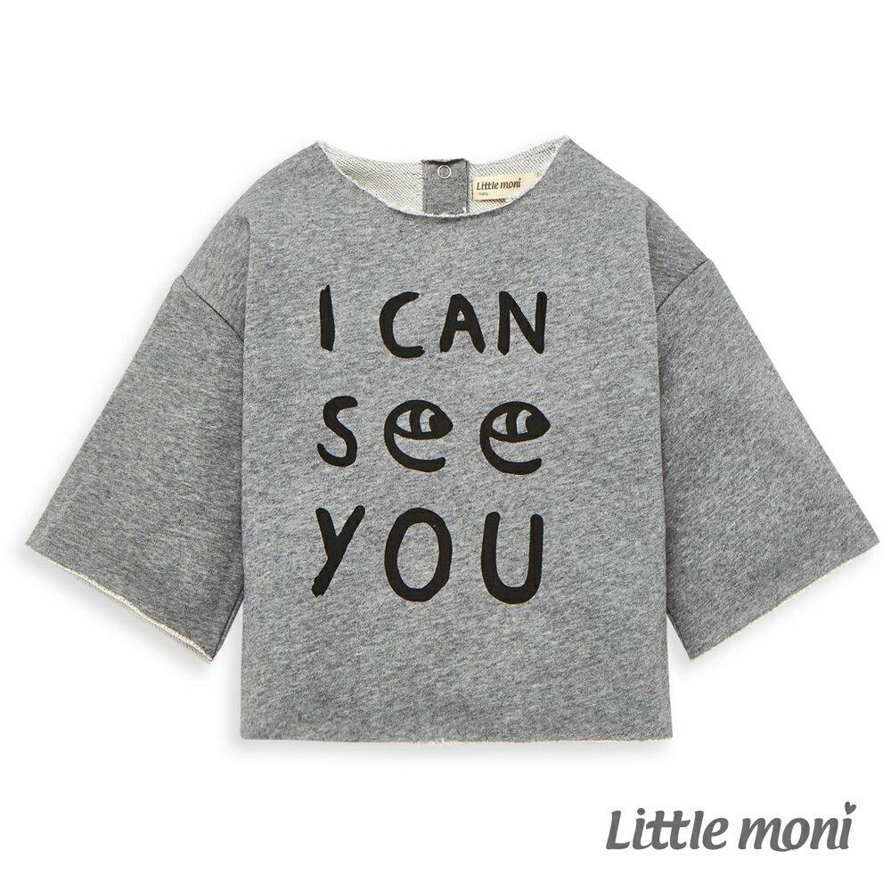 Little moni 寬版印圖上衣-灰色 0