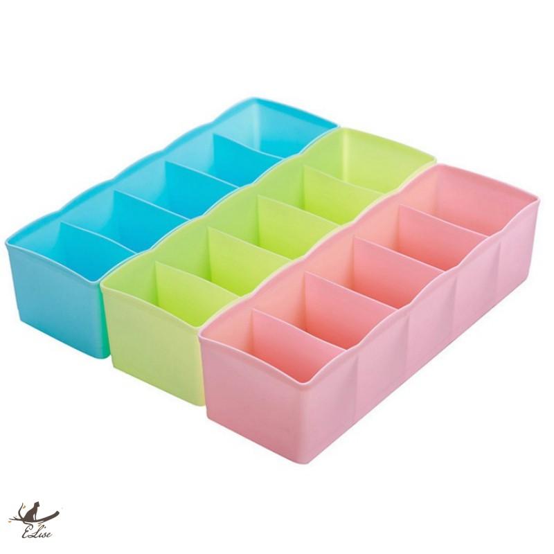 【ELise】五格分類整理盒 襪子 內衣內褲收納盒 分類收納盒 分格化妝盒 分格收納盒