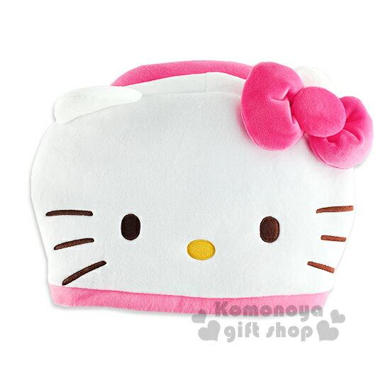 〔小禮堂〕Hello Kitty 連帽旅行優眠頸枕《粉.大臉》旅行.汽車室內兼用