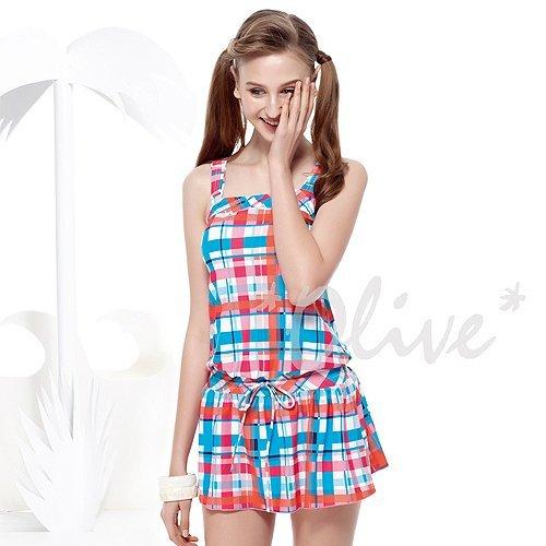 ☆小薇的店☆MIT聖手品牌俏麗彩色格紋時尚二件式連身裙泳裝特價1580元NO.A92515(S-XL)