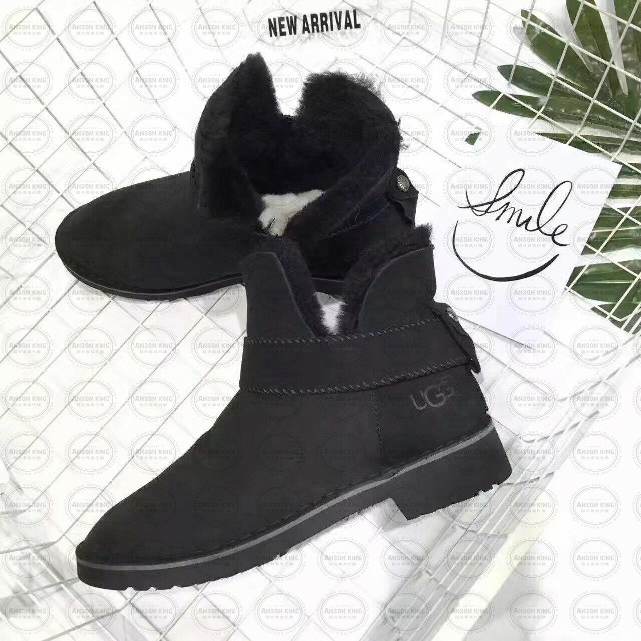 OUTLET正品代購 澳洲 UGG 羊皮毛一體馬汀靴 中長靴 保暖 真皮羊皮毛 雪靴 短靴 黑色 1