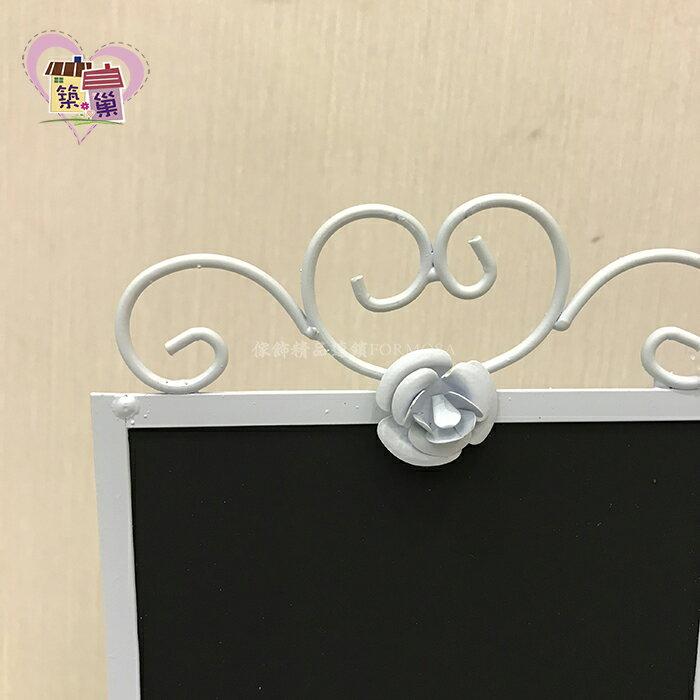 鍛鐵玫瑰桌上型黑板-方-白【築巢傢飾】